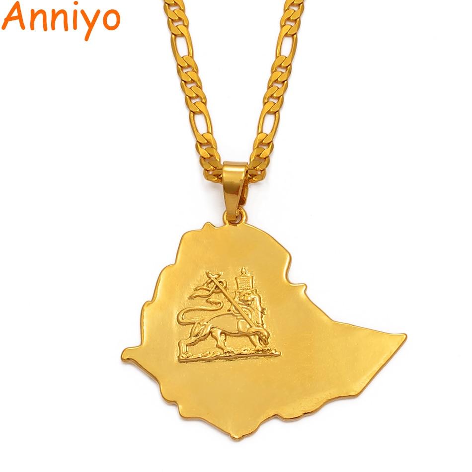 Cadena de collares colgantes de mapa etíopes Anniye, joyería de Color dorado para hombres y mujeres, collar de León de África Etiopía, mapas #004201