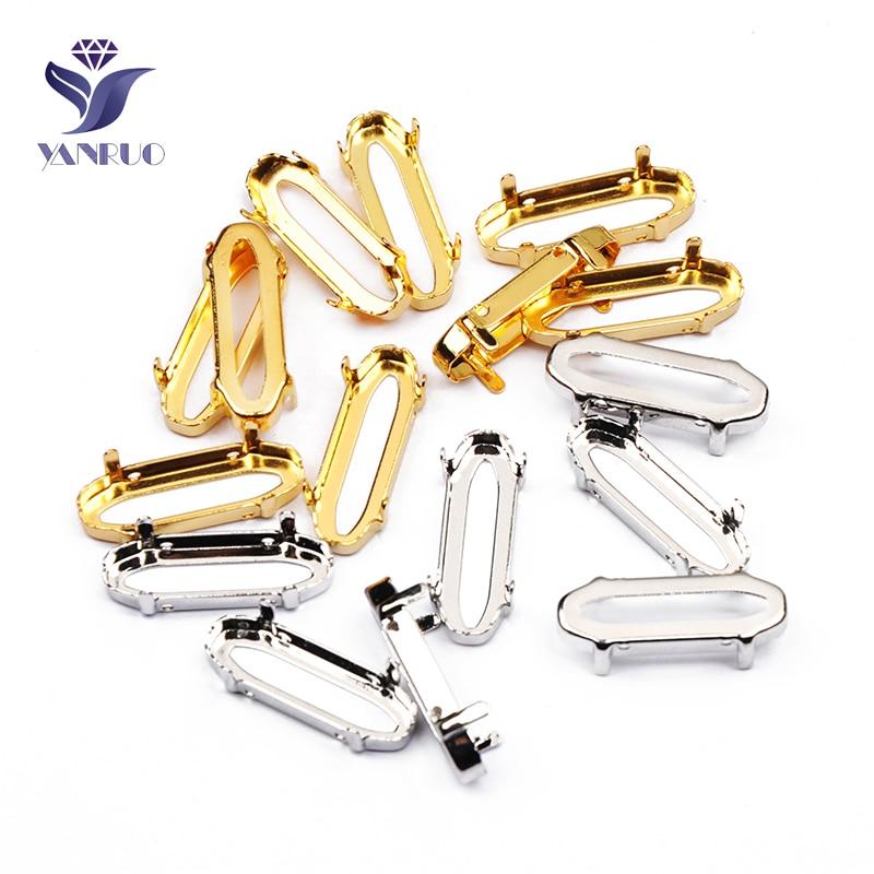 YANRUO 4161 alargada Baguette cosido piedras Strass Metal plata garra dorada en miniatura Configuración de diamantes de imitación de cristal para manualidades
