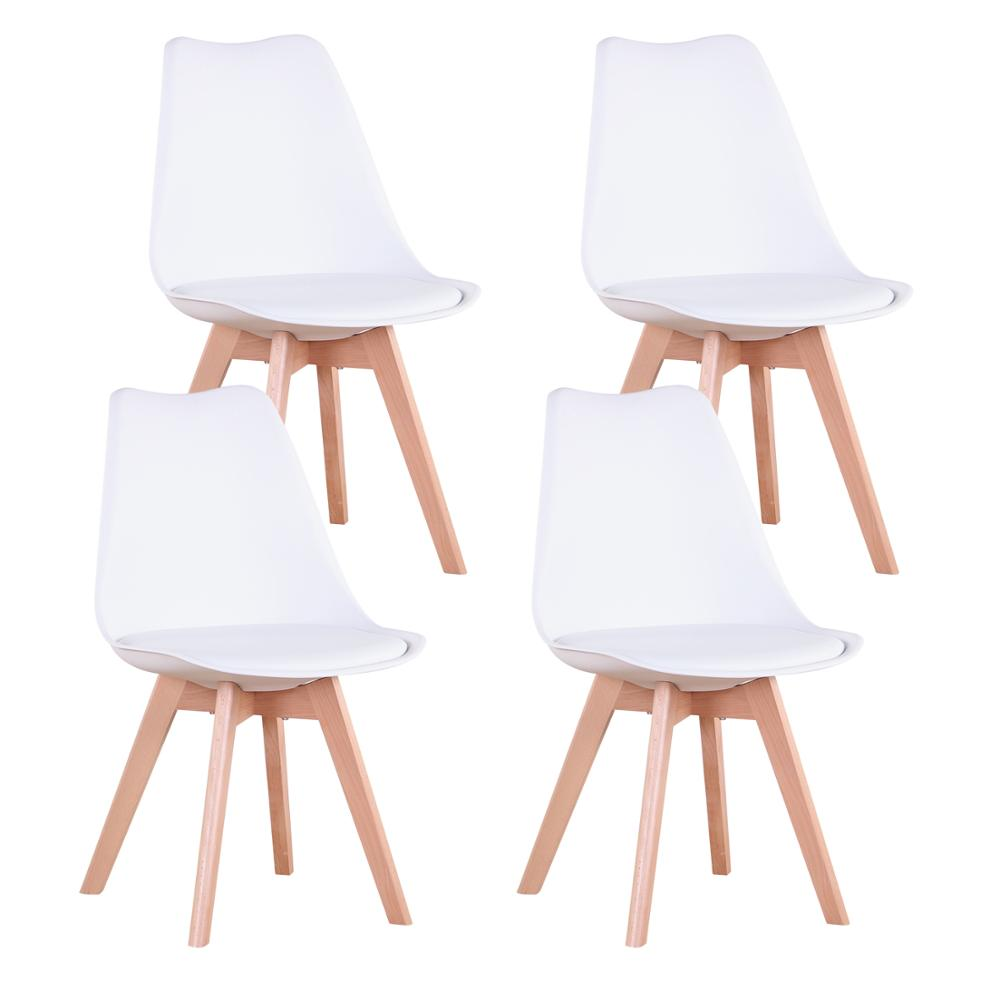 Set of 4 Modern Dining Chair Inspired Solid Wood Plastic Padded Seat with Cushion Retro Style Kitchen Chair for Dining Room