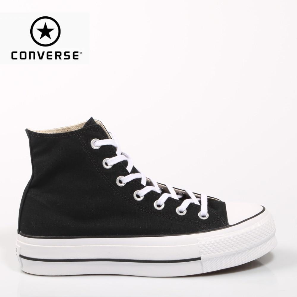 Klasyczne Converse Chuck Taylor All Star buty dla kobiet oryginalny deskorolka trampki z platformy czarny
