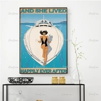 travel traveling girl and she lived happily ever after poster yacht summer vacation art prints home decor canvas floating frame