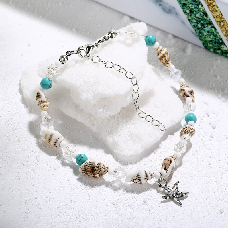 Women Fashion Conch Starfish Pendant Shell Crystal Beads  Ankle Bracelets Summer Beach Foot Jewelry Anklets