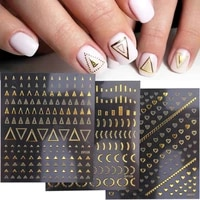 3d geometric nail stickers gold triangle letters butterfly self adhesive sliders for nails new year nail art design gldp301 328