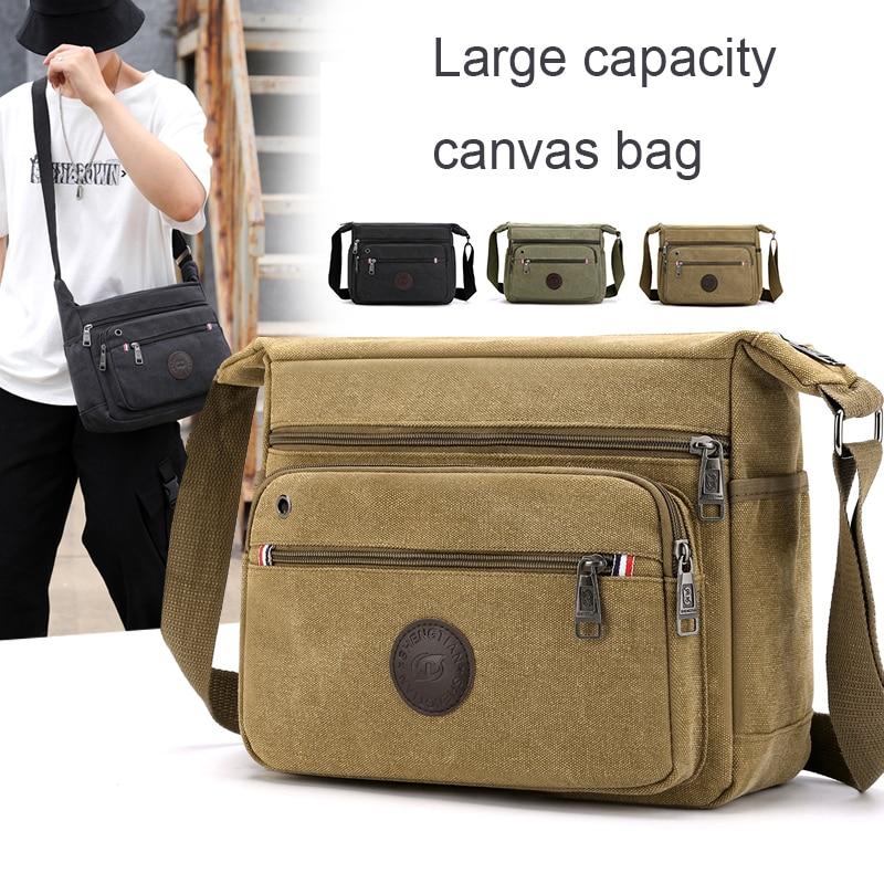 Good Qualtiy Men Travel Bag Canvas Casual Men Shoulder Crossbody Outdoor Bags Mens Travel School Retro Zipper Shoulder Bags 2021