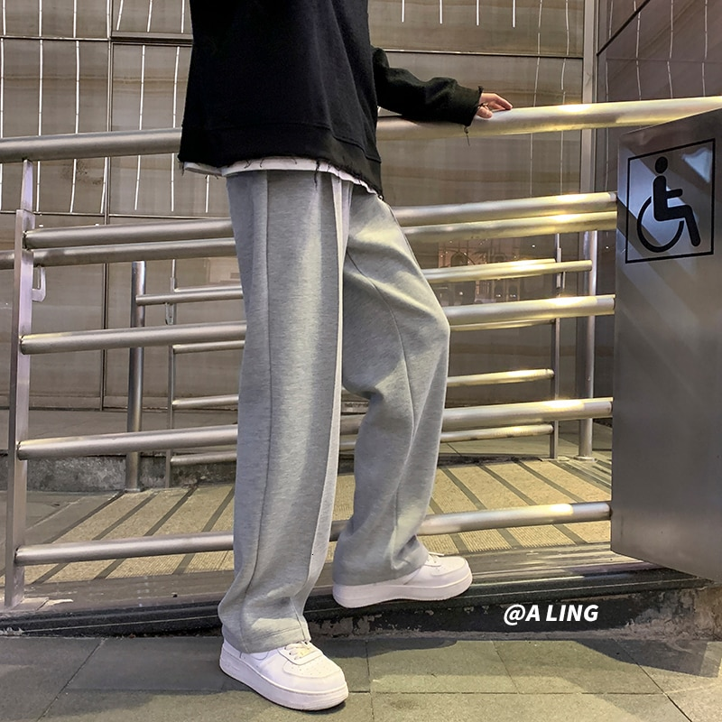Privathinker Black Solid Color Straight Harem Pants Korean Man Loose Ankle-Length Winter Streetwear Woman Spring Casual Pants