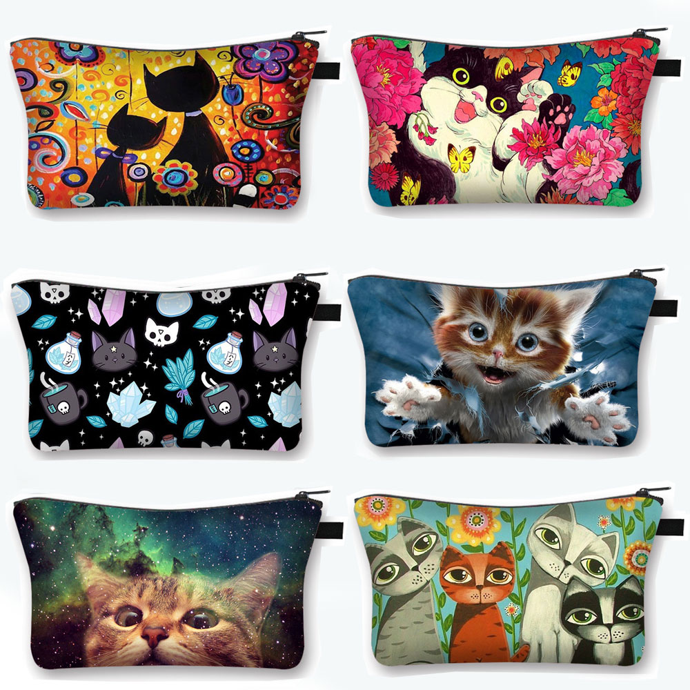 Cute Cat Print Cosmetic Case Women Makeup Bags Cartoon Kitten Cosmetic Bags Ladies Travel Storage Ba