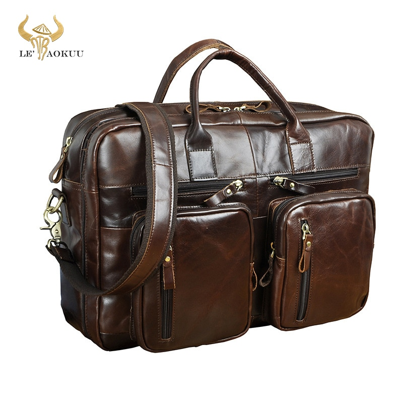 Maletín Original de cuero a la moda de negocios, bolso de mensajero, bolso de viaje para ordenador portátil, bolso de mano, cartera, bolso k1013