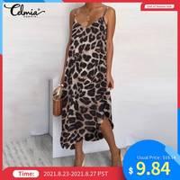 Платье Celmia женское ассиметричное с леопардовым принтом, повседневное пляжное пикантное платье миди на бретелях, на пуговицах, лето 2021