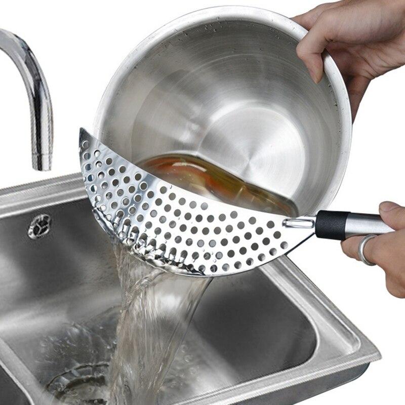 Olla colador de acero inoxidable Pasta espaguetis práctica drenaje herramienta olla filtro escurridor de sartén para casa cocina filtro escurridor