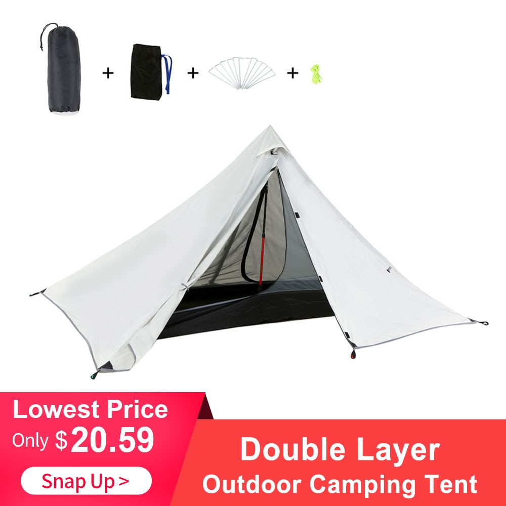 Oudoor tienda de campaña ultraligera doble capa impermeable Backpacking tienda de campaña al aire libre senderismo para la pesca caza playa viaje