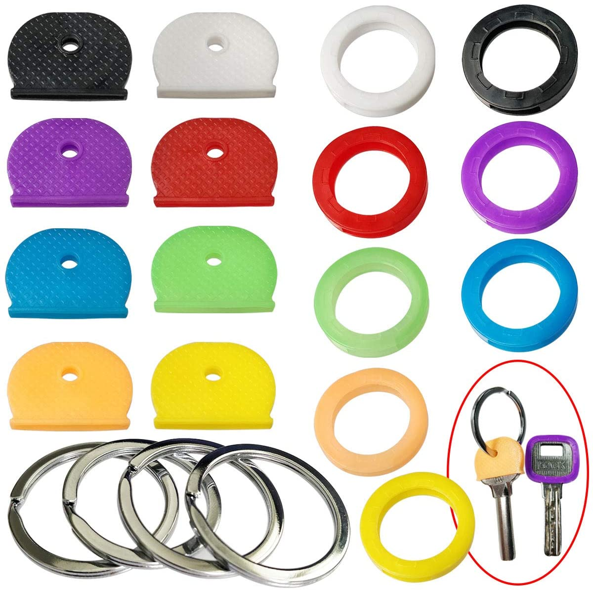 Tampas de chave tampas tags cor codificada chave cabeça caps etiqueta id chave codificada anéis identificar chaves