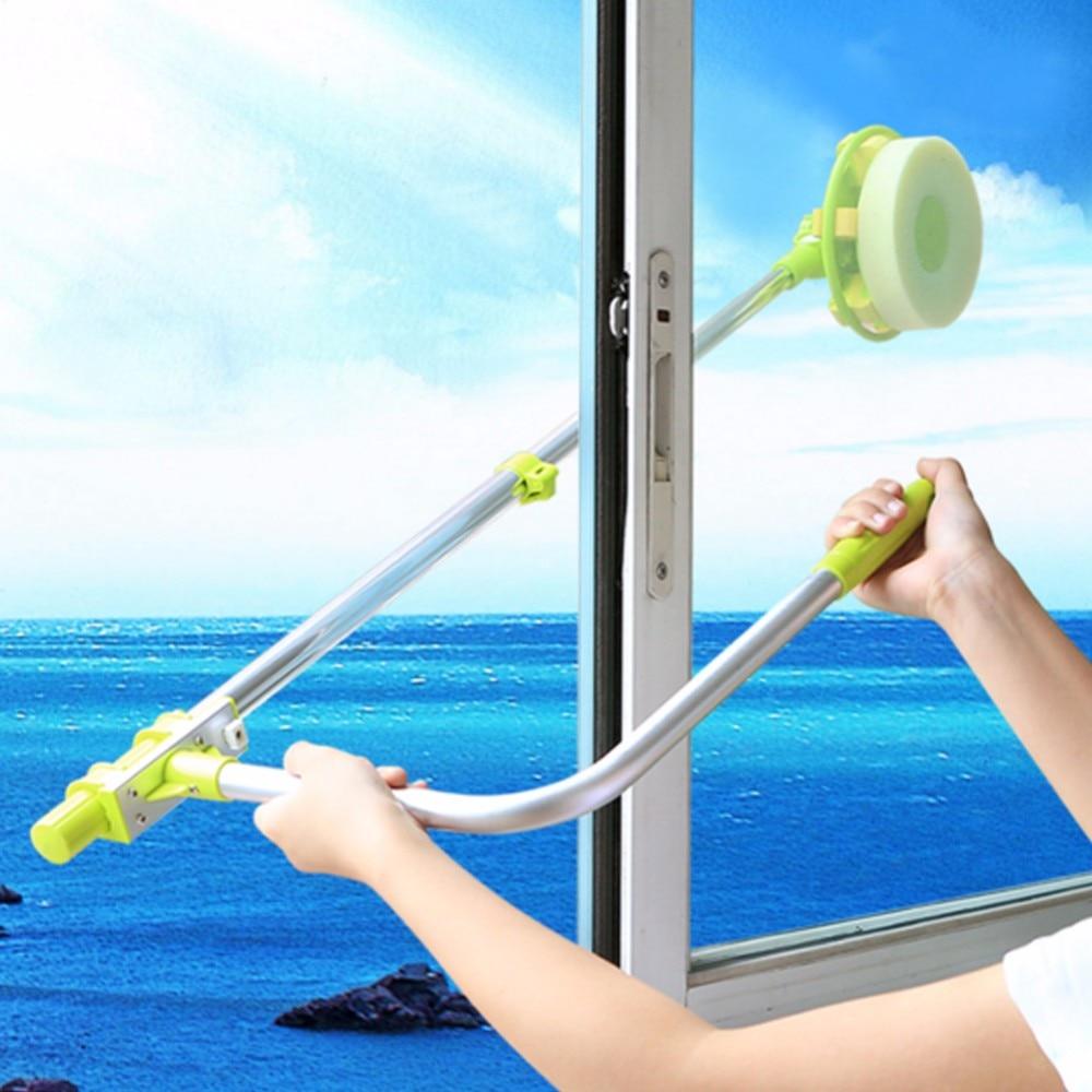 Длинная ручка окна швабра с губкой телескопическая щетка для очистки окна устройство пыли двухсторонняя очистка стекла стеклоочистителя м...