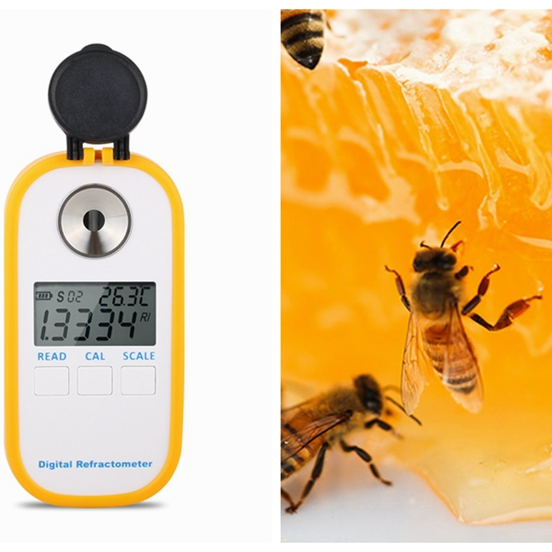 مقياس انكسار رقمي محمول للعسل مقياس انكسار Brix 0-90% Brix Be Water 3in1 مقياس تركيز العسل