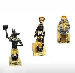 Ancient Egyptian Candle Holders Gold Candlestick Figurine Craft Home Decoration Anubis Sphinx Goddess Table Candle Stand Gift