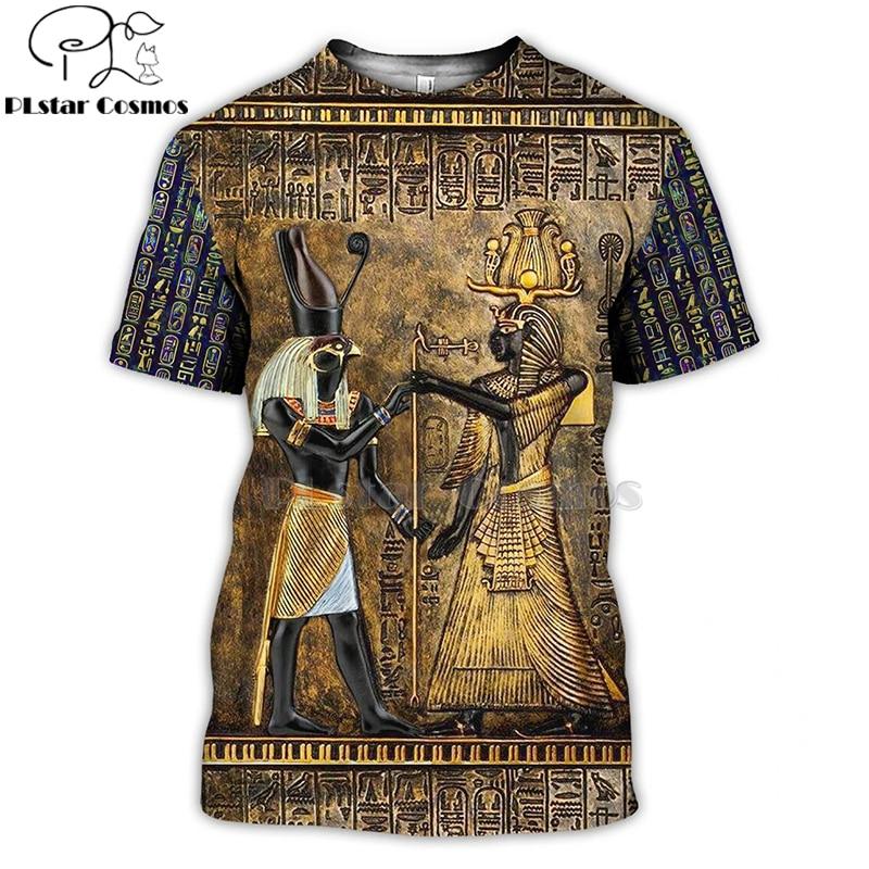 PLstar Cosmos Egyptian God Eye of Egypt Pharaoh Anubis face 3d printed t shirts tees hip hop short sleeve summer t-shirt men