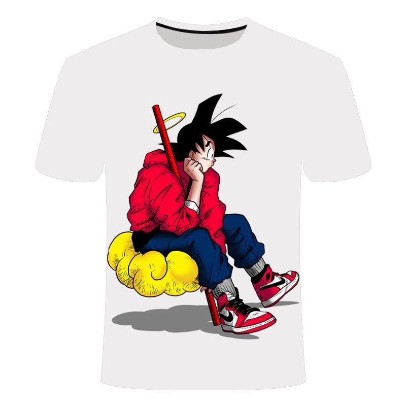 Nueva camiseta de Dragon Ball Goku 3D, camiseta de manga corta con cuello redondo, camiseta de verano Saiyan Vegeta Harajuku, ropa de marca, camiseta de talla asiática 4XL