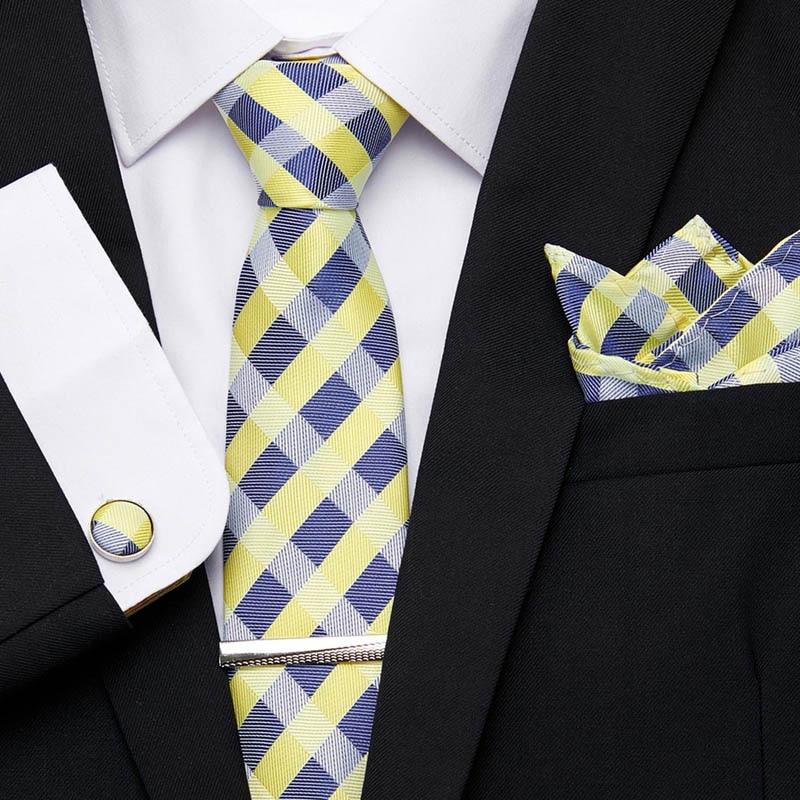 Luxury Jacquard Woven 100% Silk Mens Solid Ties 7.5cm Stripe  Handkerchief Tie Clip Cuffink Necktie Set Gift for men Necktie недорого