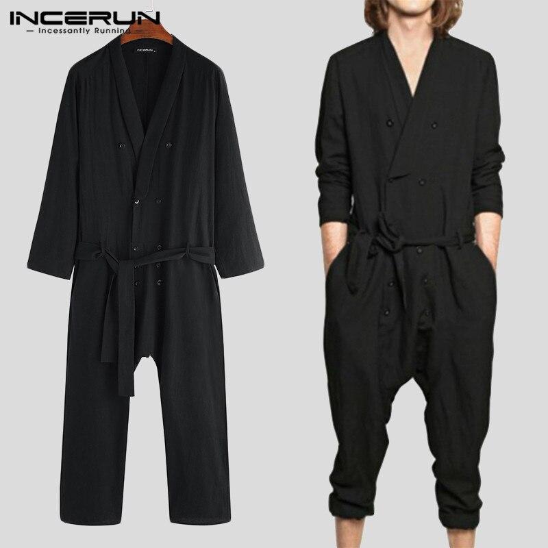 Nova moda masculina macacão sólido manga longa algodão v pescoço calças streetwear casual macacão com cinto dos homens incerun S-5XL