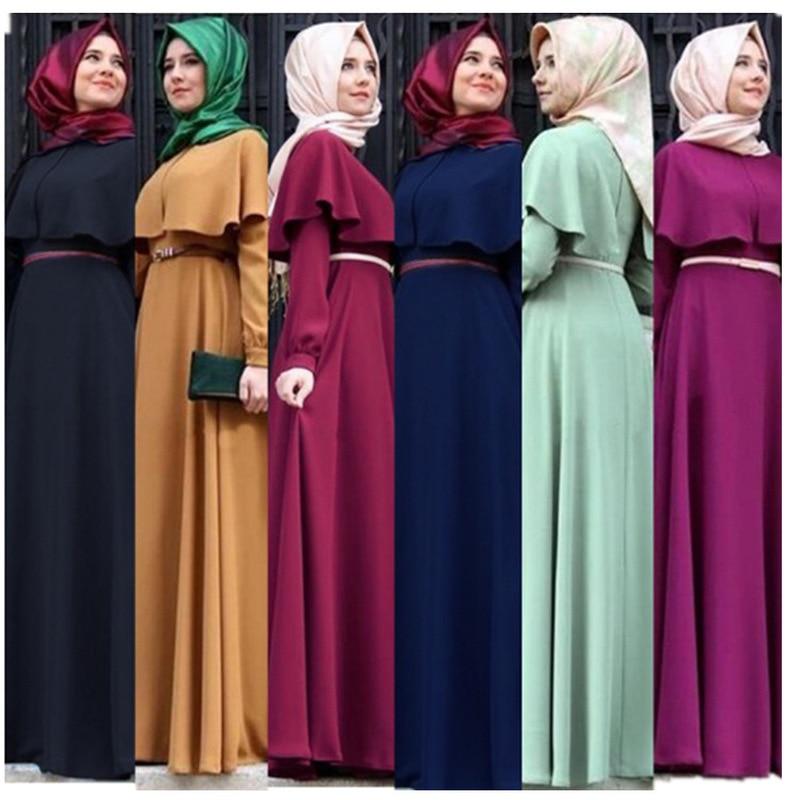Plus Größe Kleider Moslemisches Abaya A-line Maxi Kleid Frauen Rüschen Große Schaukel Robe Gürtel Kimono marokkanischen Kaftan Anbetung Islamische Kleidung