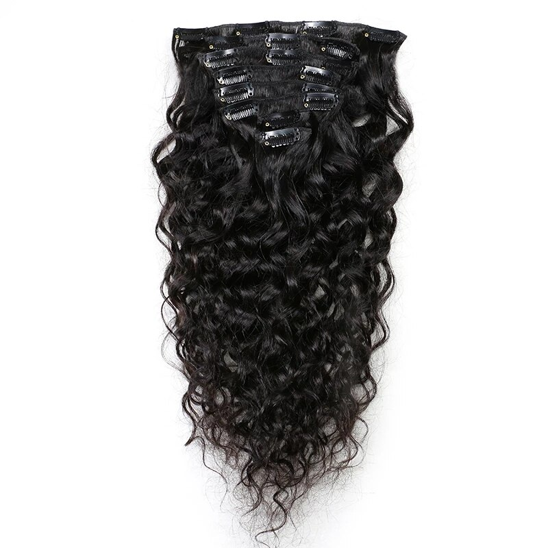 Natural Wave Clip In Human Hair Extension Brazilian Remy Curly Hair Clips In 8-10Pcs 100grams clip in soft wave hair extension 1pc
