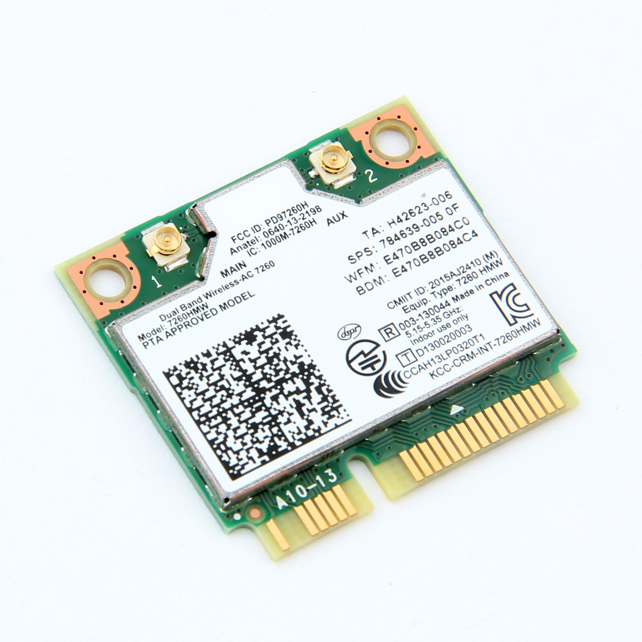 Intel 7260 AC tarjeta Wifi inalámbrica 7260HMW media Mini PCI-E 2,4G/5Ghz Bluetooth 4,0 adaptador 802.11ac IPEX antenas portátil 10 Uds.