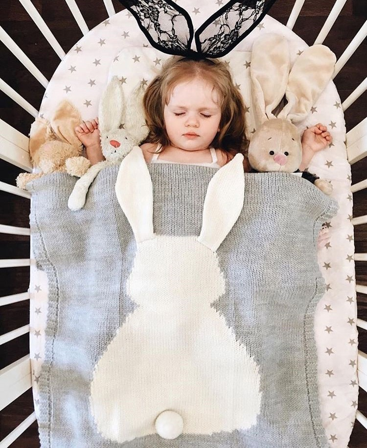 Newborn Baby Four Seasons Universal Rabbit Ears Three-Dimensional Jacquard Knitted Baby Blanket Bedding For Boys And Girls