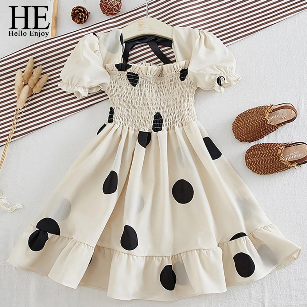 HE Hello Enjoy Kids Princess Dresses For Baby Girls 2020 New Summer Vintage Polka Dot Lace Up Chiffon Kid Princess Elegant Dress