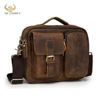 Original Leather Male Fashion Casual Design Satchel Crossbody Shoulder Messenger bag Tote 9\