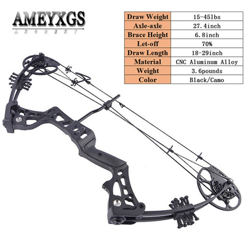 15-45lbs Adjustable Compound Bow 27.4inch Axle To Axle Car Hunting Pulley Bow Archery Training Shooting Sports Right Hand Bow