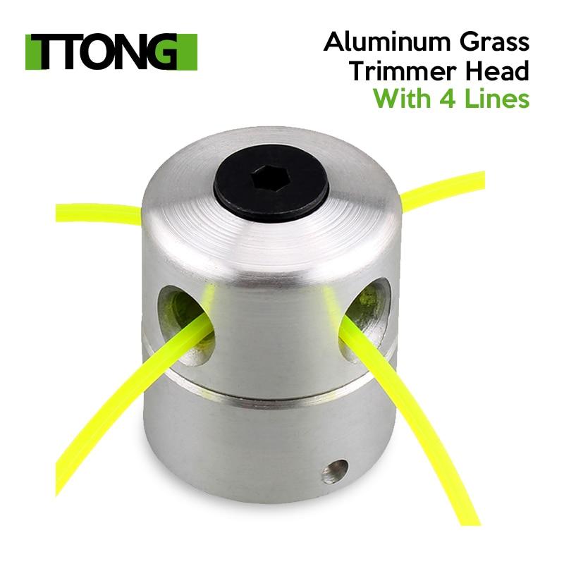 Tête de coupe-herbe en aluminium avec 4 lignes, tête de coupe-brosse Accessoires de tondeuse à gazon Tête de coupe pour le remplacement de la tondeuse