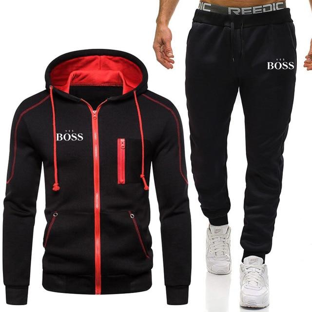 New Men Yes Boss Suit Sweatshirt + Pants Harajuku Jogging Sportswear Casual Men / Women Gym Workout Shirt Brand Tracksuit