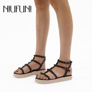Hemp Rope Weaving NIUFUNI Peep Toe Rivet Platform Gladiator Women Sandals Sexy Buckle Wedge Low Heel Casual Shoes For Women