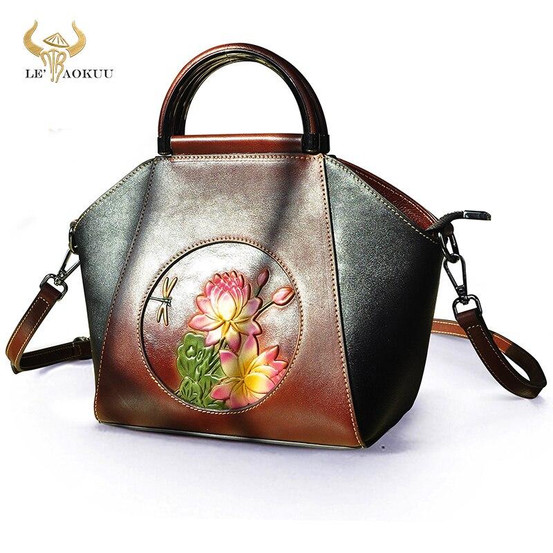 Unique Flower Emboss Natural Leather Famous Brand Luxury Ladies Shopper handbag Shoulder bag Women D