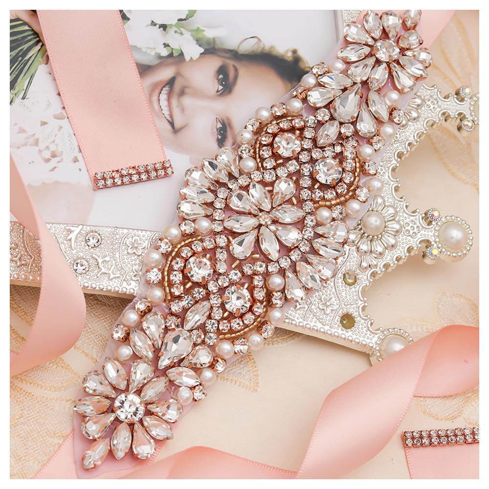 MissRDress perlas boda cinturón vestido rosa oro cristal nupcial cinturón diamantes de imitación boda faja nupcial fiesta boda Vestido cinturón flores JK849