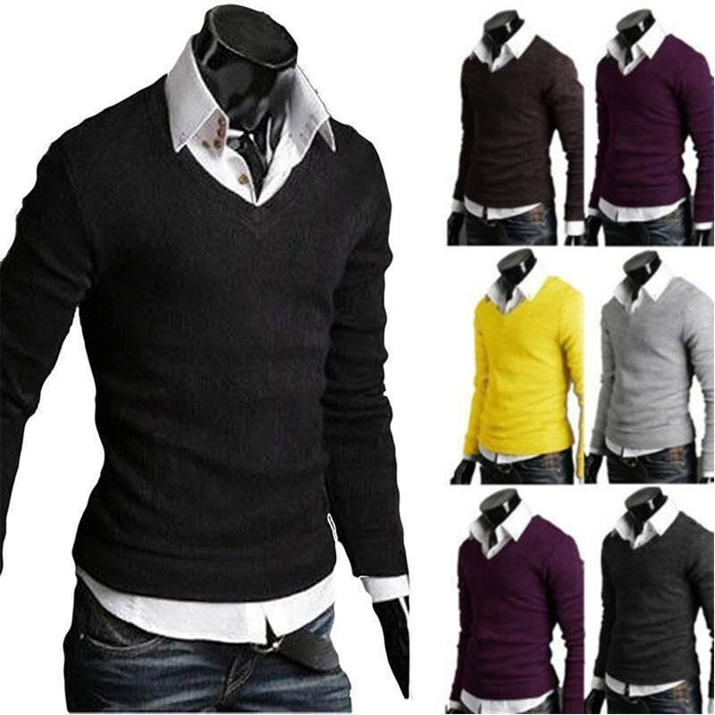 Мужской зимний однотонный трикотажный джемпер с V-образным вырезом, пуловер, свитер, Топ с длинным рукавом, вязаная одежда, мужские свитера