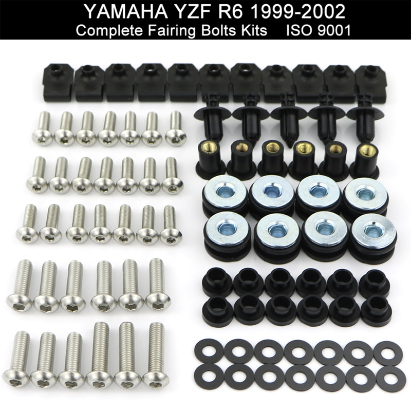 Apto para Yamaha YZFR6 YZF-R6 R6 1999, 2000, 2001, 2002 de la motocicleta completo Kit de tornillos de carenado loco Kit de tornillos de acero inoxidable
