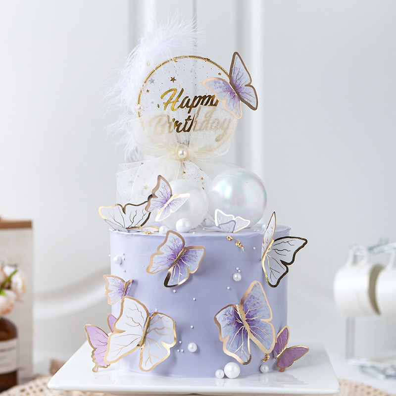 Butterfly Cake Toppers Happy Birthday Handmade Painted Wedding Party Decoration Baking Supplies