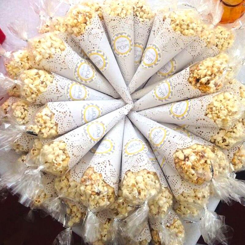 200 pçs papel redondo com flor do laço para a decoração da mesa de casamento sacos de biscoito cones embalagem envolvente doces presente coasters placemat