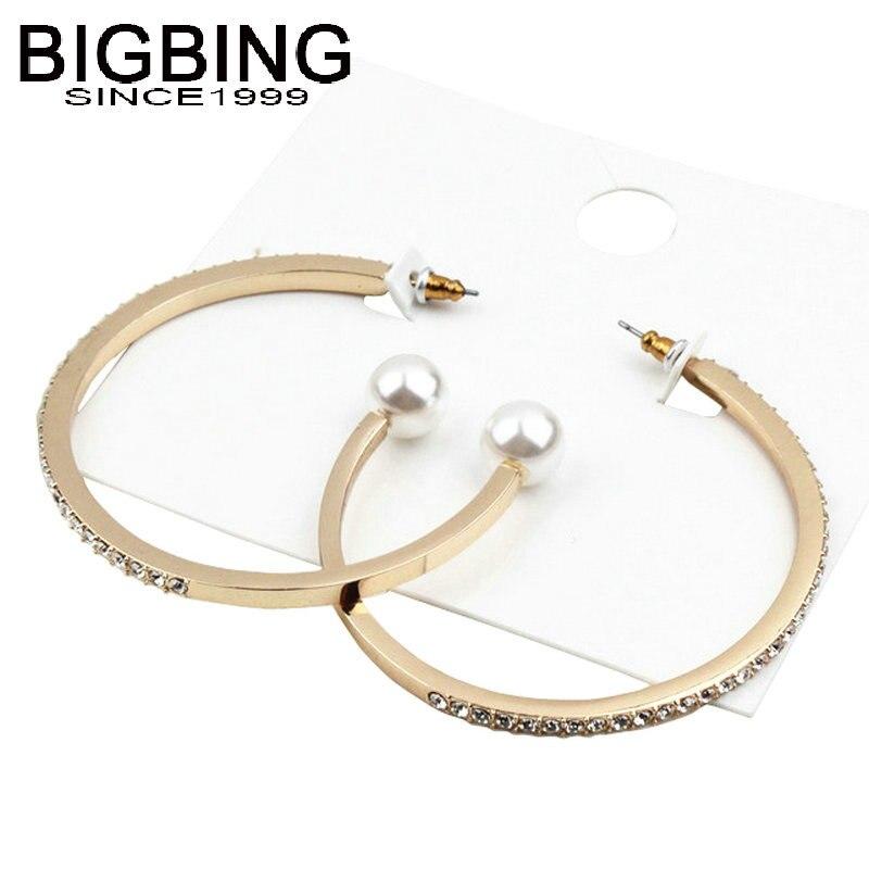 V258 BIGBING jewelry fashion golden crystal pearl circle stud Earrings fashion earring fashion women jewelry
