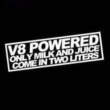 HotMeiNi 18cm x 7.3cm gros V8 alimenté jus de lait 2 litres autocollant drôle course Mustang Jdm dérive décalcomanie mots voiture autocollant