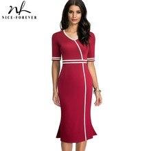 Nice-Forever 2021 Sumer femmes Vintage élégant sirène robes daffaires formelle fête ajusté robe moulante btyB604