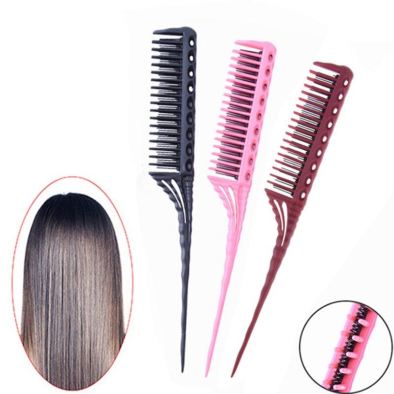 3 reihe Zähne Haar Kämme Teasing Kamm Entwirren Pinsel Schwanz Kamm Zugabe Volumen Zurück Kommende Friseur Kämme Haarbürste