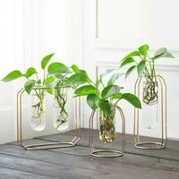 metal shelf glass vase hydroponic glass pots flower vase decorative pots planters tube vase