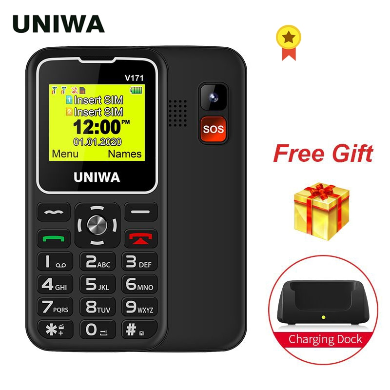 UNIWA-هاتف ذكي V171 مع شاشة 1.77 بوصة SOS 2G ، زر كبير ، هاتف لاسلكي ، FM ، مكبر صوت عالي ، وضع الاستعداد لمدة 10 أيام ، شحن
