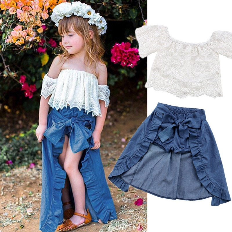 2020 verano chica chico encaje fuera del hombro camiseta pantalones superiores princesa Denim moda vestido fiesta verano Set trajes Jojo Siwa