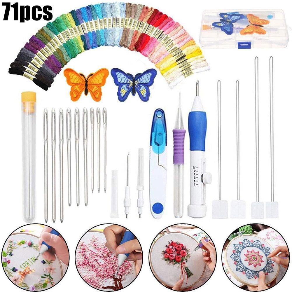71pcs Cross Stitch Kits Embroidery Tools Sewing Thread Kit 50 Skeins 21 Tools Needles