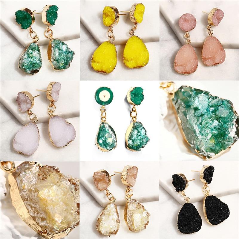 European America Hot Trendy Irregular Crystal Waterdrop Dangle Earrings For Women Statement Vintage Candy Color Stone Pendientes