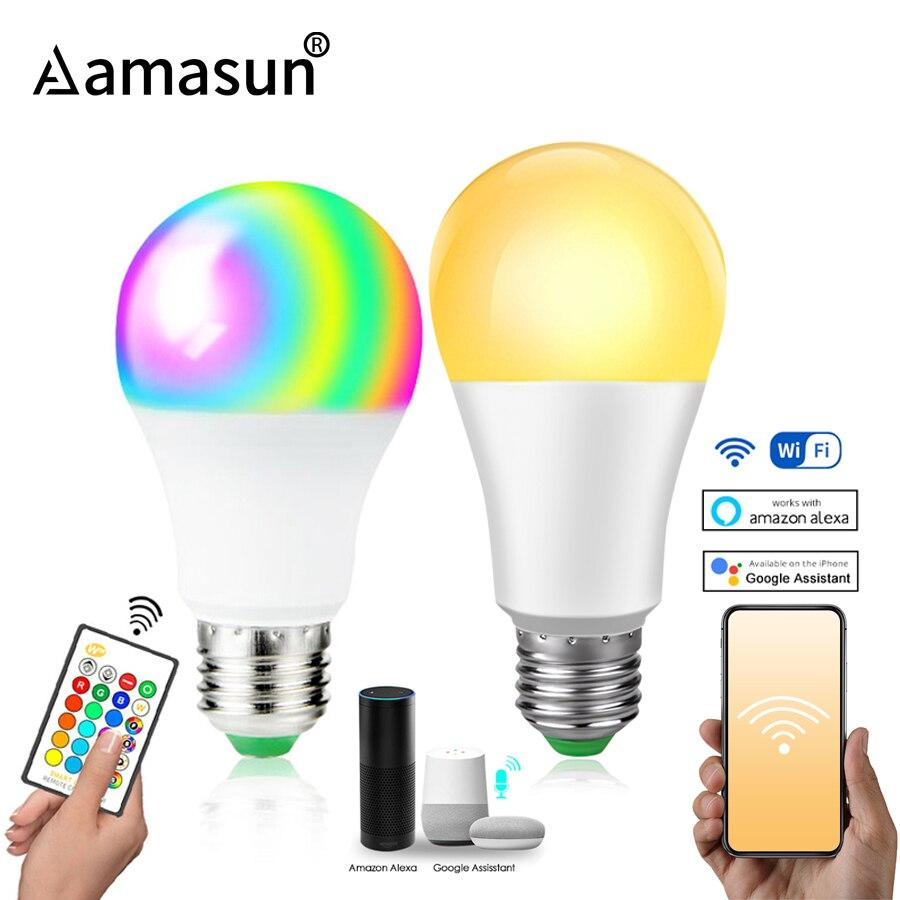 85-265V E27 Led Lamp Rgb 15W Bluetooth Wifi App Controle Smart Lamp 10W Rgbw Rgbww gloeilamp Ir Afstandsbediening Home Verlichting