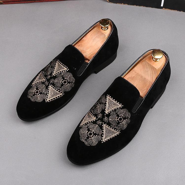 Zapatos de gamuza Oxford estampados para hombre, calzado de moda con bordado,...