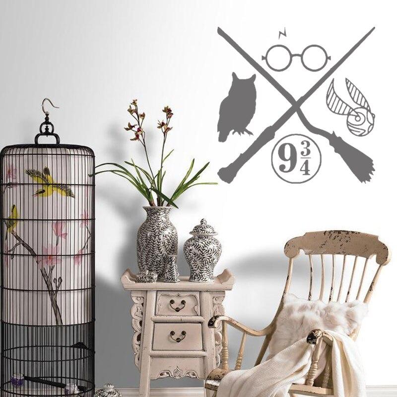 Coruja varinha mágica adesivo de vinil inspirado crianças quarto decoração da arte do vinil decalques meninos quarto cartaz potter mural papel parede e27